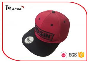 China 3D Embroidery P/ C Red Snapback Baseball Caps Hats With Machine Eyelet on sale