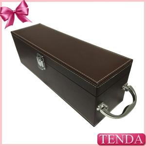 China Luxury Shiny Handle Brown PU Faux Genuie Leather Wine Box for Red Wine Alcohol Beverage on sale