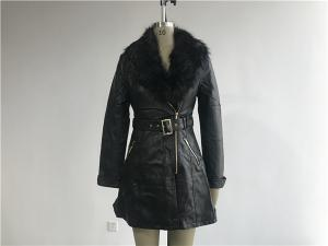 China Long Style Black Color Ladies PU Jacket With Detachable Fur Collar TW64825 supplier