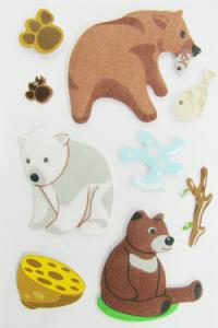 China Fuzzy Puffy Custom Book Stickers , Little Bear Cute Animal Stickers For Kids on sale