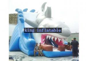 China Penetrating White / Grey Shark Inflatable Trill Dry Slide Single Lane By Plato PVC supplier