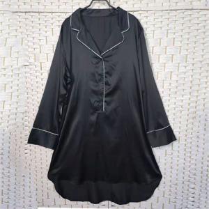 China Sexy Black Women Pyjama Set , Long Sleeves Soft Ladies Satin Pyjamas on sale