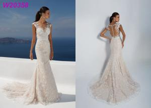 China Sleeve Less Sexy Backless Fit And Flare Wedding Dress , Bridal Wedding Gowns on sale