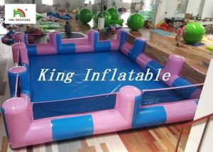China Custom 0.9mm PVC Pool Type Inflatable Swimming Pool With Blue And Pink , 12x8m on sale