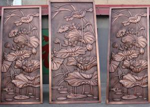 Quality Bronze Lotus Flower Bas Relief Plaques For Public Wall Art Decoration for sale