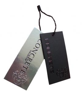 China Luxury Printed Paper Labels , Clothing Label Tags Swing Red Foil Whites Boards on sale
