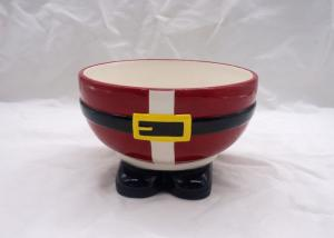 China Red Ceramic Houseware Tabletop Earth Bowl Ceramic Christmas Santa Pants Shape on sale