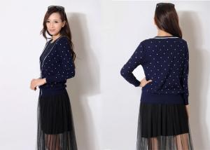 China Summer Fashion Half Cardigan Ladies V Neck Dresses with Long Sleeve in Navy on sale