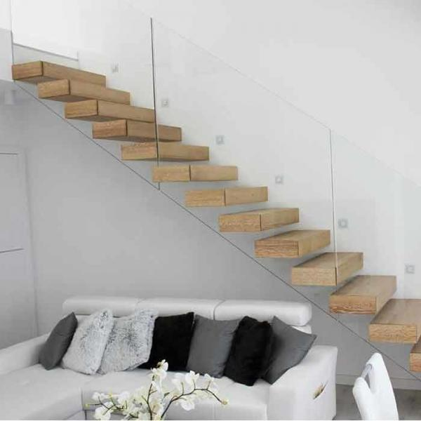 Prefab open riser oak wood floating staircase/hidden