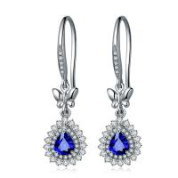 Blue Sapphire Teardrop Dangle Earrings Gorgeous Sapphire With Cluster Diamond