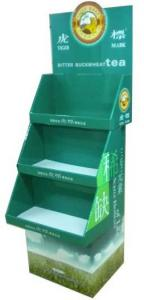 China Eco-friendly 3 Tiles Cardboard Display Stands Folding Corrugated Paper Display Racks on sale
