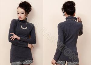 China Grey Fine Knit Womens Pullover Sweaters on sale