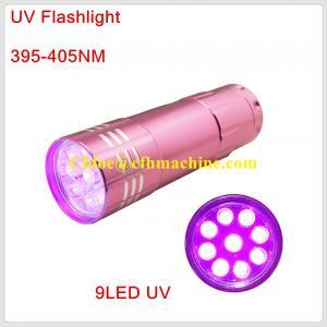 China Pink Color Aluminum 395NM Blacklight 9 pcs Ultraviolet Flashlight Lamp Torch on sale