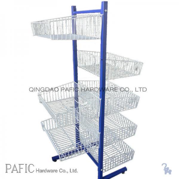 Metal / Iron Free Standing Wire Display Racks With 7 Basket 10-30kgs ...