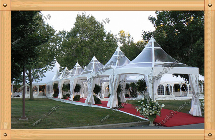 6mx6m beautiful gazebo tent pagoda tent with transparent pvc roof
