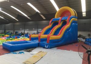 China Professional Fireproof Double Water Slide With Splash Pool 3 Years Warrenty on sale