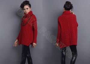 China Womens Pullover Sweaters Turn Down Collar Cable Knit Red Long Sleeve  on sale