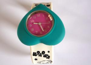China Blue Heart Case Little Bear Silicone Wristband Slap Happy Watches with Color Filled Logo on sale