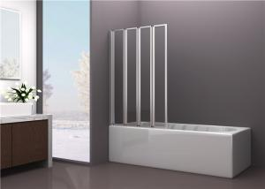 China 4mm Tempered Framed Glass Bathtub Shower Screen with Four Folding Doors on sale