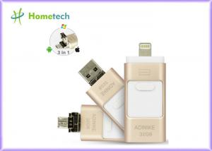 China Golden OTG Phone Metal 32GB USB Memory Stick For IPhone / PC , 1 Year Warranty on sale