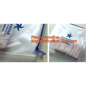 China Transparent pvc slider zip bag with blue side gusset, pvc zipper lock slider bag, Zipper slider clear pvc bag for ruler on sale