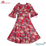 89D18026 New 15Dollor Summer Fashion V-Neck Half Sleeve Floral Print Women High Waist Beach Dress