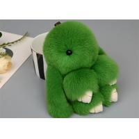 China Rabbit Fur Pom Pom Keychain With Fluffy Thick Hair , Soft Fur Bunny Keychain For Bag on sale