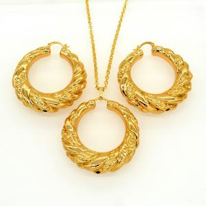 China Vintage jewelry Pendants Necklaces Earrings Set For Women 18K Real Gold Plated on sale