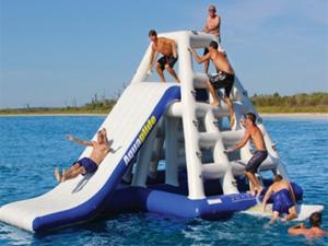 China Adults 3.7mH Inflatable Floating Water Slide EN71 Plato PVC For Parks on sale