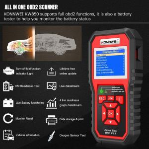 China KONNWEI Car Diagnostic Scanner FOXWELL NT301 OBD2 Scanner For Mechanic Check Engine Light on sale