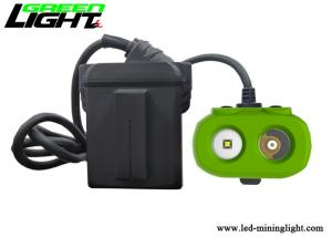 China 15000lux super brightness dual-beam led mining cap lamp green and black TPV material 10.4Ah panasonic battery pack on sale
