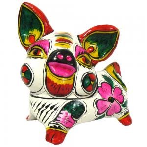 China Colored Drawing on Pottery Clay Sculpture Chinese Zodiac Pig on sale