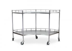 China Medical Stainless Steel 304 Fan Shape Instrument Trolley On Casters on sale