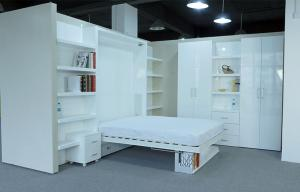 China White Double Folding Wall Bed with Bookshelf ,E1 Grade Material with Paint on sale