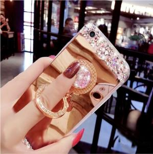 China 3D Bling Diamond Phone Case, Apple Mirror Phone Protective case With Finger Ring Holder on sale