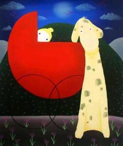 China Handmade Cartoon Style Art Painting On Canvas on sale