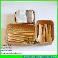 LUDA matural seagrass straw storage basket and box
