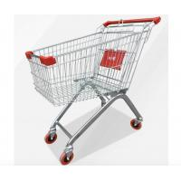 Zinc Powder Coating Supermarket Shopping Trolley Cart With Flexible Wheel