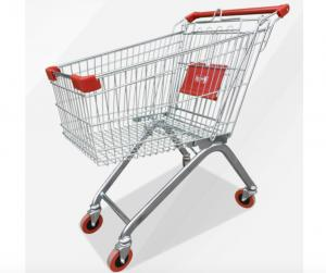 China Zinc Powder Coating Supermarket Shopping Trolley Cart With Flexible Wheel on sale