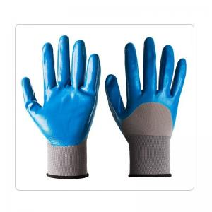 China Grey Polyester Liner With Nitrile Half Coating Health And Safety Labor Gloves on sale
