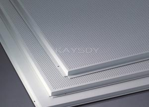 Beveled Edge Office Suspended Ceiling Tiles Perforated Aluminum Panels