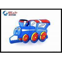 Blue TrainSilicon Kids Bedroom Knobs / Soft Plastic Childrens Wardrobe Door Knobs