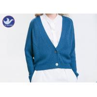 China Acrylic Wool Womens Knit Cardigan Sweaters , Blue Long Sleeve Cardigan Sweater on sale