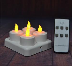 China New 4pcs/set Rechargeable Flameless LED Tealight Candle Light with Frosted Holder Remote Based on UK.US AU Plug on sale
