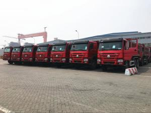 China 25T 336hp 371hp HOWO Dump Truck 6 X 4 10 Wheel Red Color Steering ZF8118 on sale