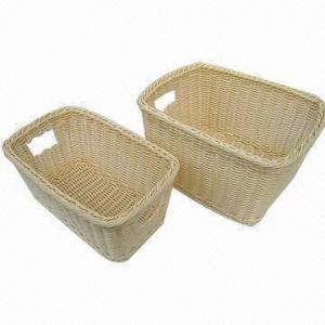 China Washable heavy-duty tough woven polypropylene rattan storage baskets, dishwasher-safe, child-proof on sale