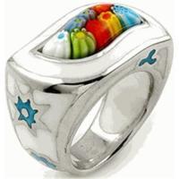 Sterling Silver Color Millefiori Ring