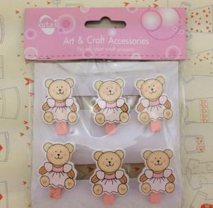 China teddy bear wood peg baby room decoration pegs wood craft pegs on sale