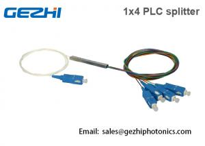China GEPON PLC Splitter 1x4 Fiber Optical Splitter Blockness Tube SC/UPC Connector on sale
