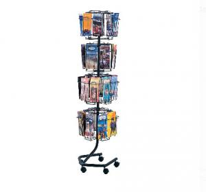 China Custom Made Magazine Display Rack Wire Magazine Stand With Wheels Portable on sale